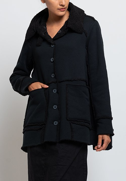 Rundholz Black Label Mock Shearling Jacket in Black