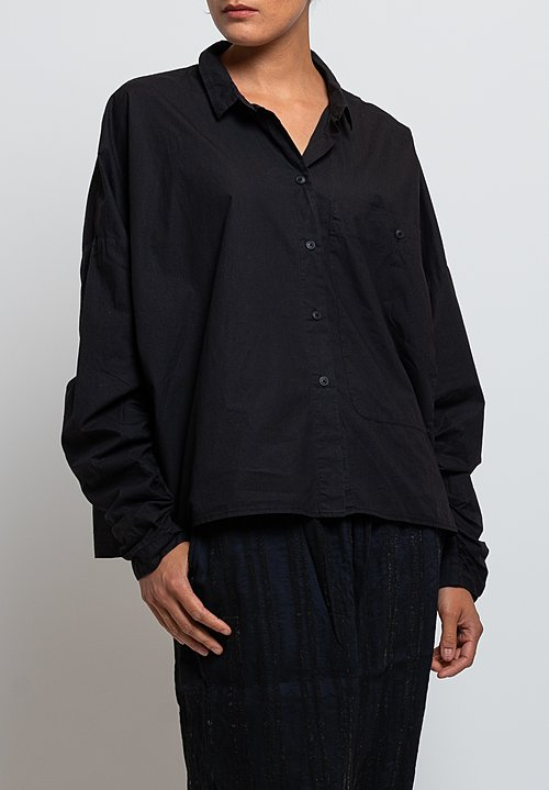 Rundholz Black Label Gathered Sleeve Shirt in Black