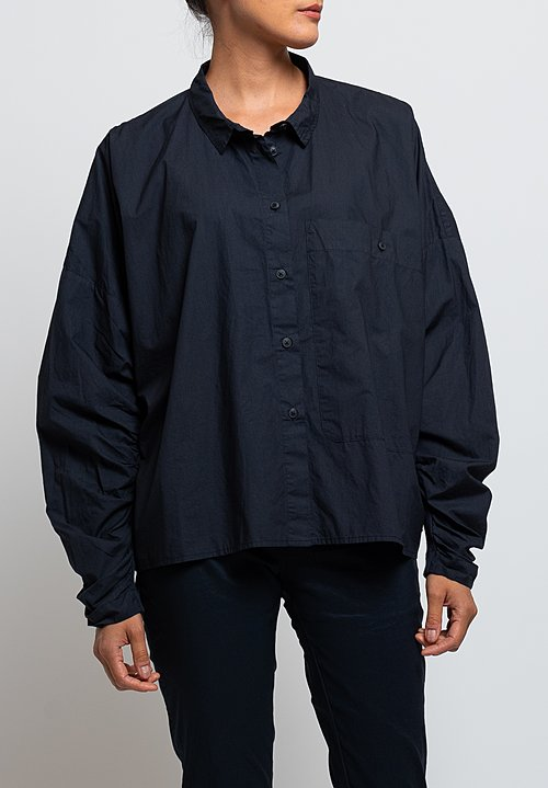 Rundholz Black Label Gathered Sleeve Shirt in Dark Blue