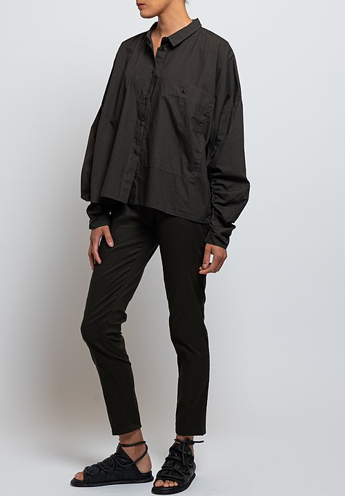 Rundholz Black Label Gathered Sleeve Shirt in Dark Olive