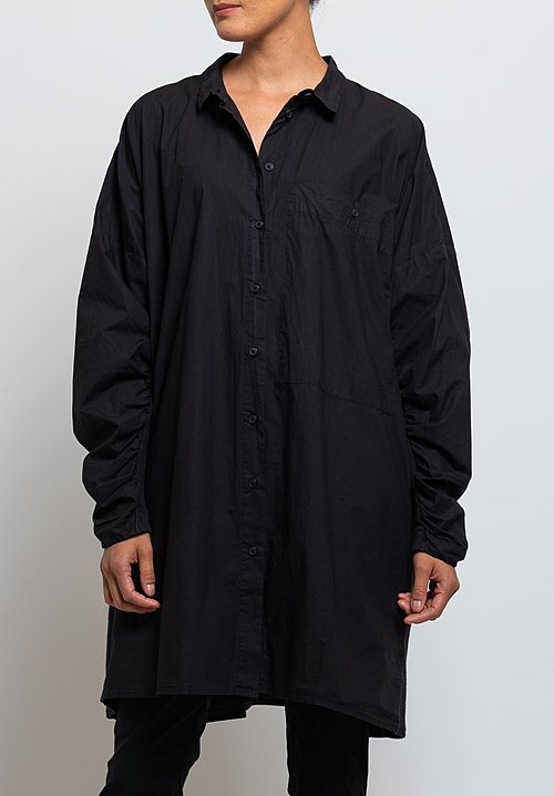 Rundholz Black Label Gathered Sleeve Tunic in Black