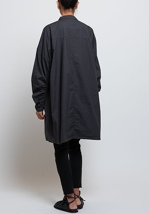 Rundholz Black Label Gathered Sleeve Tunic in Dark Grey