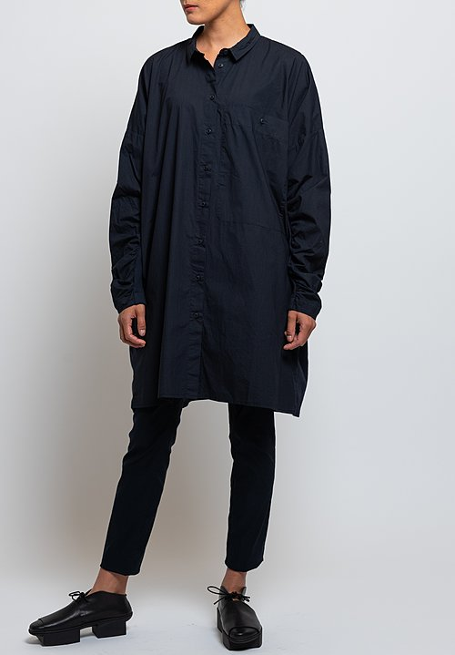 Rundholz Black Label Gathered Sleeve Tunic in Dark Blue