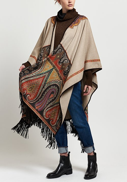 Etro Paisley Fringed Cape in Beige