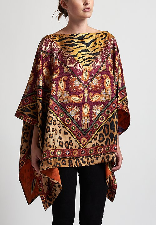 Etro Reversible Tiger & Leopard Poncho in Orange