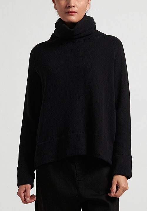 Album di Famiglia Ribbed Turtleneck Sweater in Black