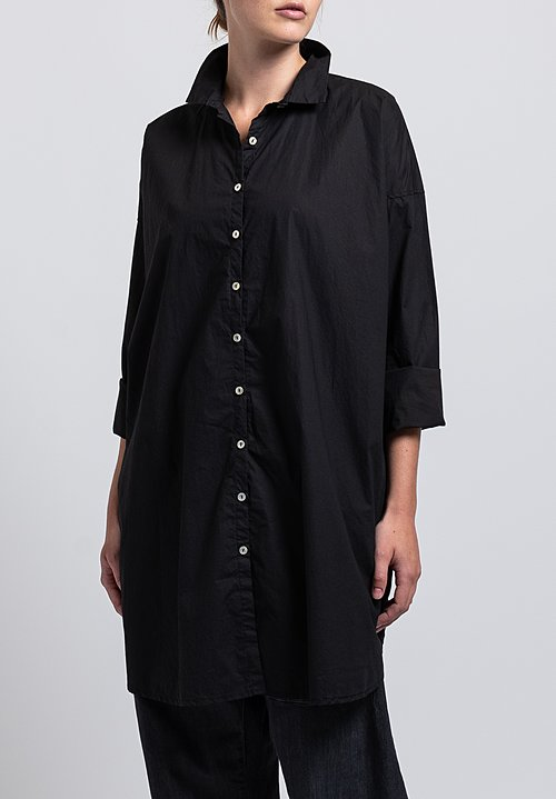 Album di Famiglia Cotton Long Collar Shirt in Black