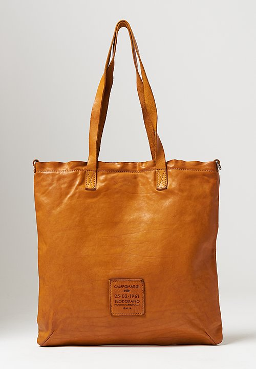 Campomaggi Big Flat Shopping Bag in Yellow