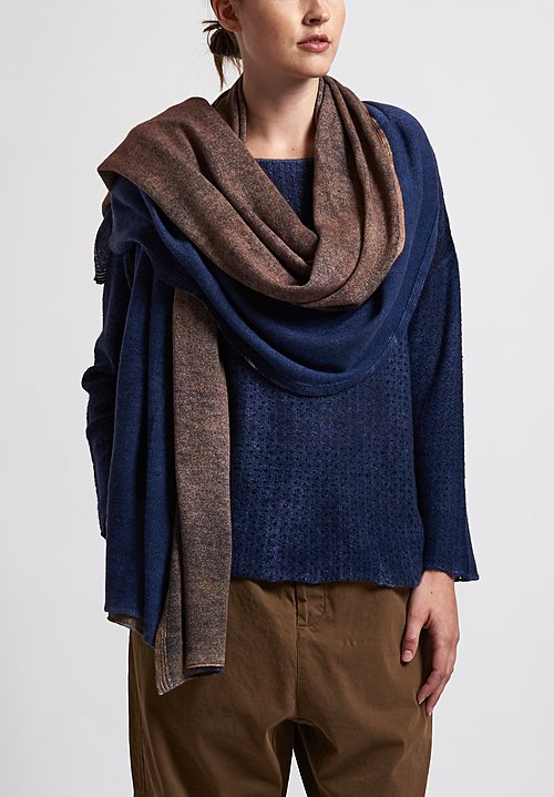 f Cashmere Two-Toned Shawl in Natural/ Blue