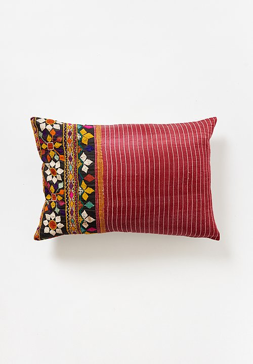 Vintage Silk Mashru Lumbar Pillow in Raspberry