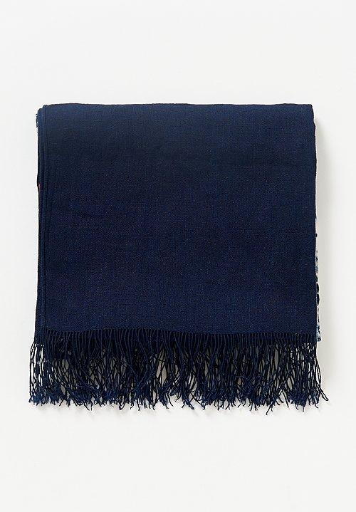 Aboubakar Fofana Linen Tie-Resist Shawl in Indigo / Natural