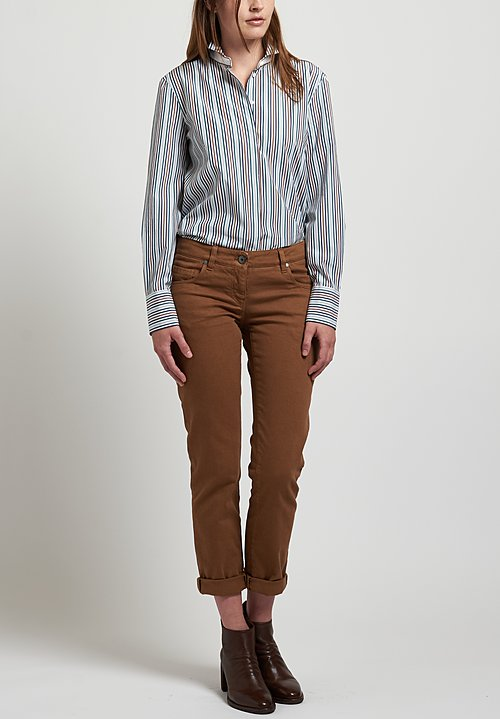 Brunello Cucinelli Striped Shirt in Blue/ Brown