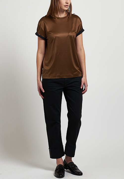 Brunello Cucinelli Rolled Sleeve Top in Bronze