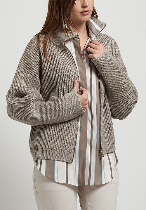 Brunello Cucinelli Sparkling Cardigan in Pebble