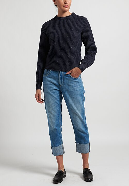 Brunello Cucinelli Sparkling Feather Yarn Sweater in Navy Blue