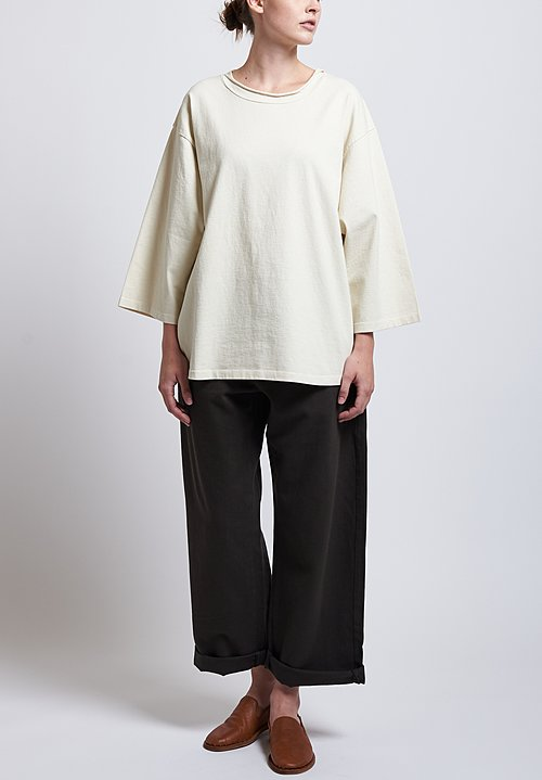 Labo.Art Cotton Ben Pan Relaxed Jersey Tee in Winter White