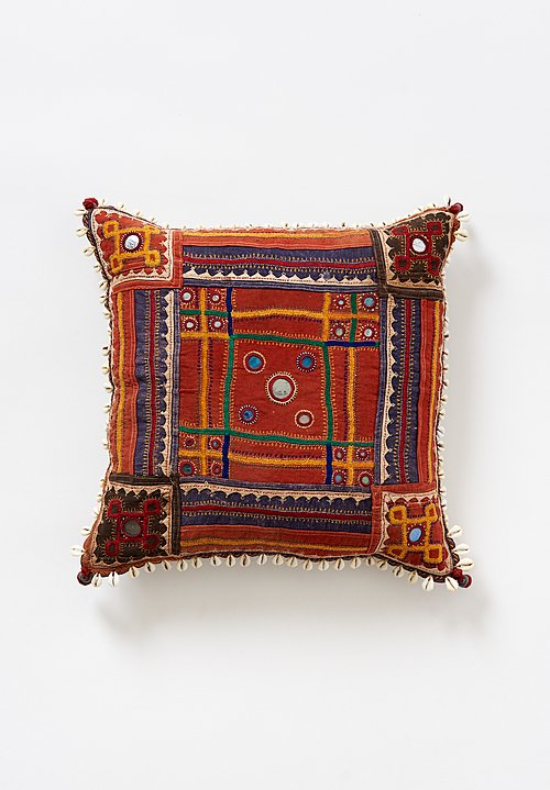 Vintage 16.5'' Banjara Embroidery, Mirror & Cowry Shell Pillow