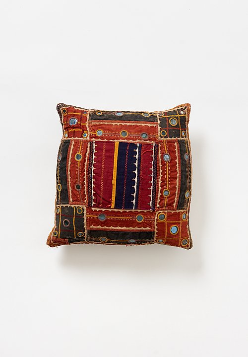 Vintage Banjara Embroidery & Mirrors Square Pillow