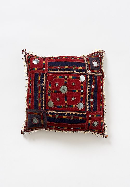 Antique and Vintage 16'' Banjara Embroidery, Mirror & Cowry Shell Pillow in Red