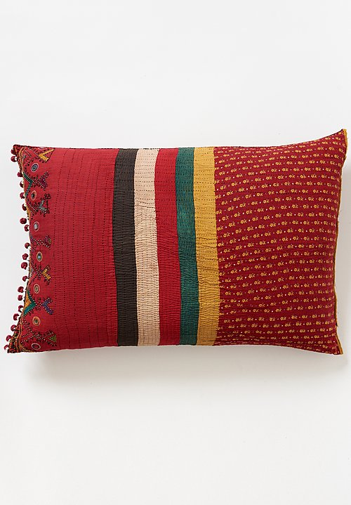Vintage Banjara Pom Pom Bag Pillow in Red