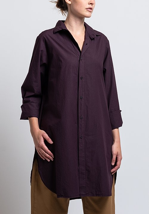 Labo.Art Cotton Bis Sushi Long Shirt in Aubergine
