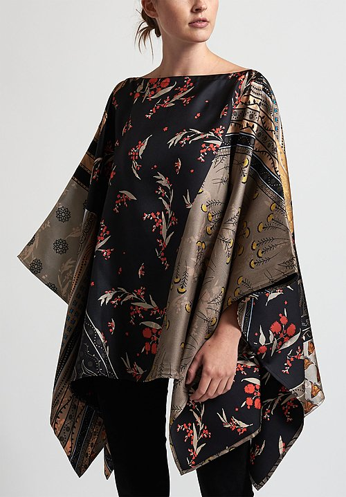 Etro Mixed Floral Print Poncho in Black/ Tan