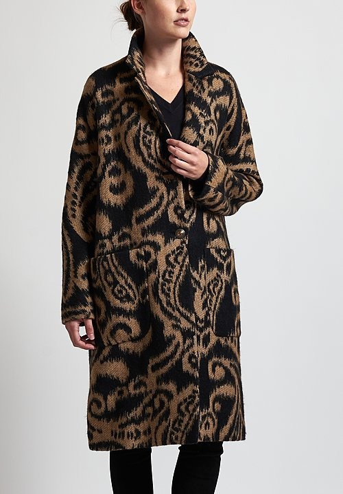 Etro Paisley Coat in Black/ Tan