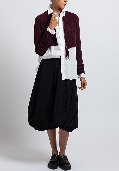 Rundholz Black Label Cropped Cardigan in Dark Red