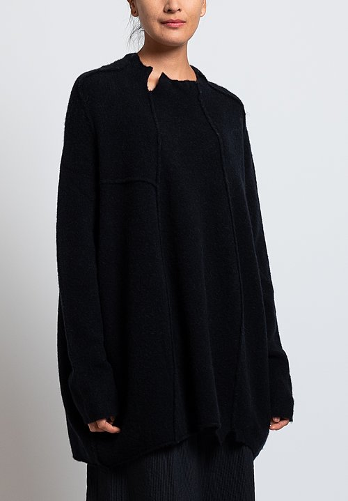 Rundholz Oversized Reverse Seam Sweater in Black