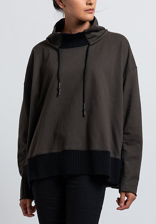 Rundholz Black Label Drawstring Sweatshirt in Dark Olive
