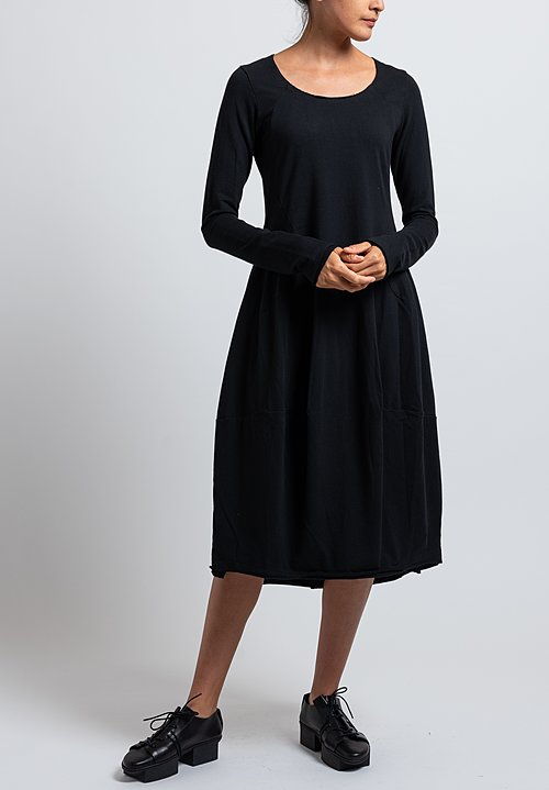 Rundholz Black Label Long Sleeve Tulip Dress in Black