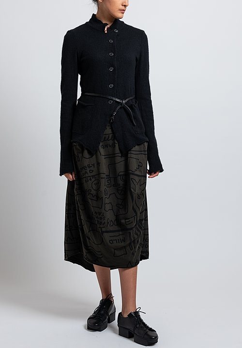 Rundholz Black Label Reversed Seam Tulip Skirt in Dark Olive