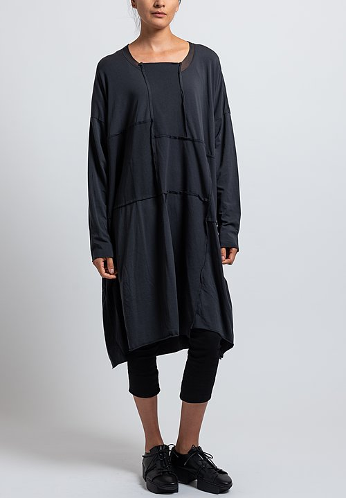 Rundholz Black Label Oversized Bonded Mesh Dress in Dark Grey
