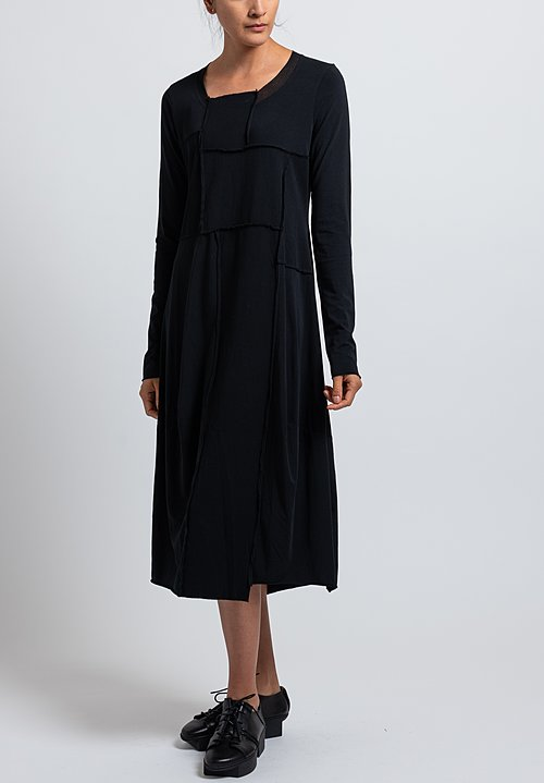 Rundholz Black Label Cotton/ Bonded Mesh Tulip Dress in Black