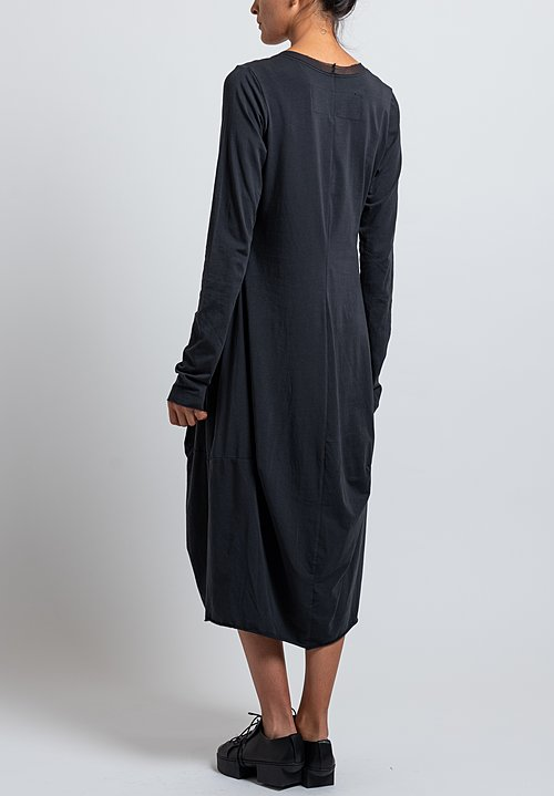 Rundholz Black Label Cotton/ Bonded Mesh Tulip Dress in Dark Blue