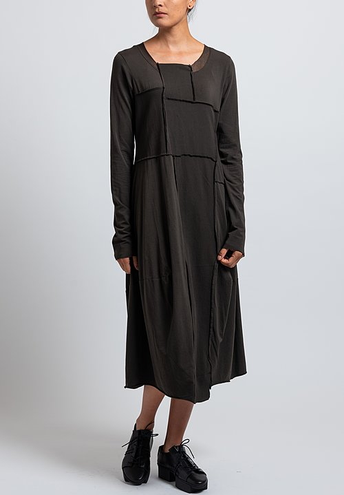 Rundholz Black Label Bonded Mesh Tulip Dress in Dark Olive