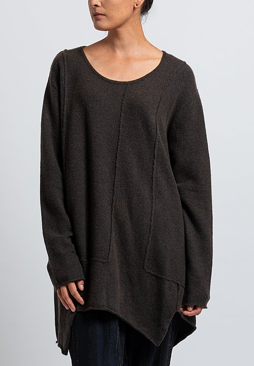 Rundholz Black Label Long Patched Asymmetric Sweater in Dark Olive