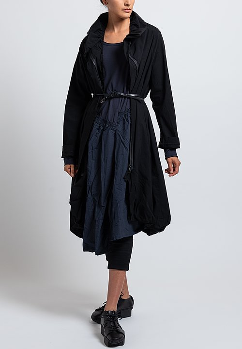Rundholz Black Label Jersey & Woven Skirt Dress in Dark Blue