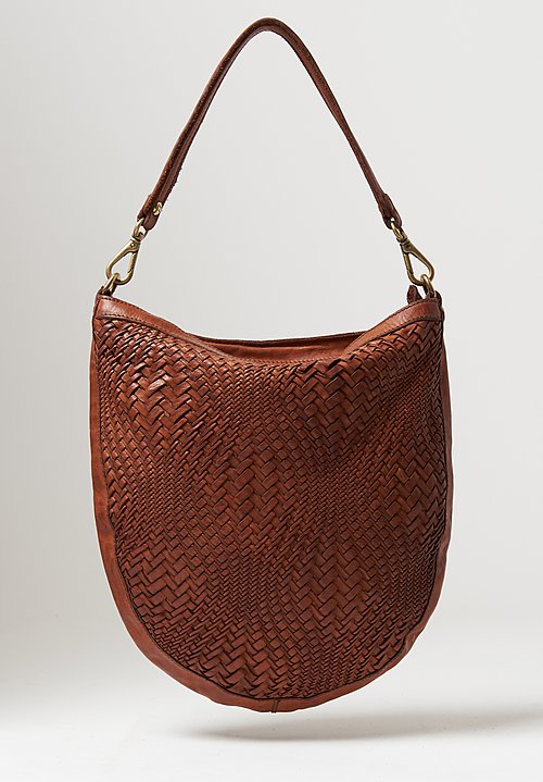 Campomaggi Optical Woven Shoulder Bag in Cognac