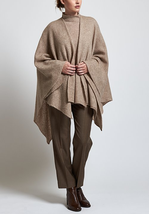Agnona Fluffy Poncho in Natural