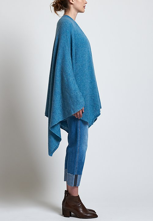 Agnona Fluffy Poncho in Sky