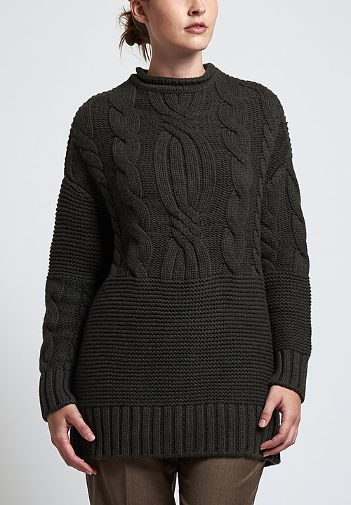 Agnona Cashmere Braided Knit Sweater in Green