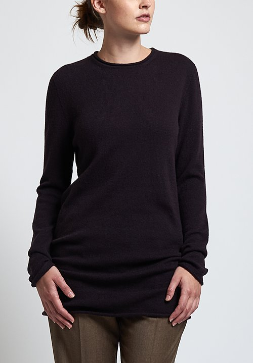 Agnona Cashmere Long Sweater in Aubergine