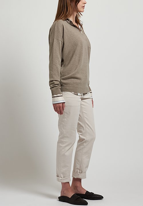 Brunello Cucinelli Detail Pocket V-Neck Sweater in Rope