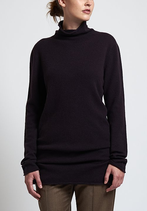 Agnona Long Turtleneck Sweater in Aubergine