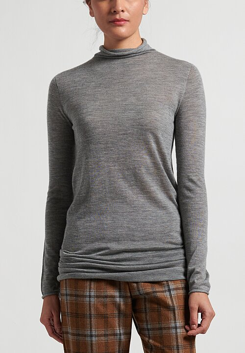 Agnona Cashmere Long Lightweight Sweater in Grey