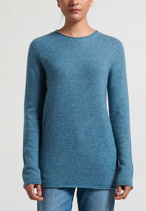 Agnona Silk Cashmere Crewneck Sweater in Sky Blue