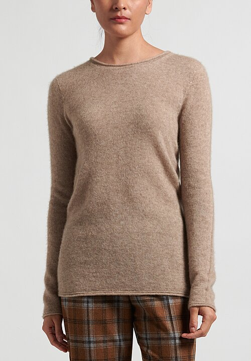 Agnona Silk Cashmere Crewneck Sweater in Natural