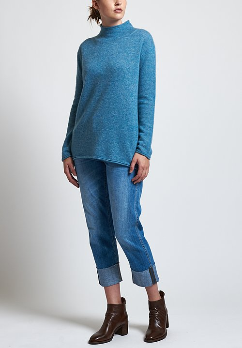 Agnona Fluffy Mock Neck Sweater in Sky