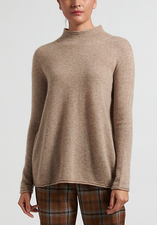 Agnona Silk Cashmere Mock Neck Sweater in Natural